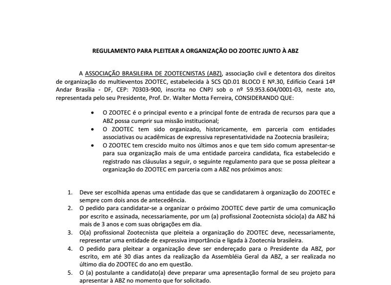 Regulamento Organização ZOOTEC