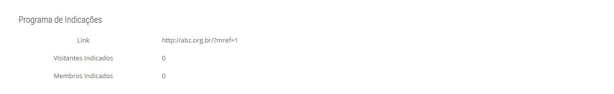 """Detalhe da área do perfil de usuário com link personalizado para """"indicações"""""""