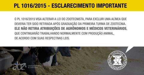 PL 1016/15 não interfere no direito de agrônomos e veterinários, diz especialista