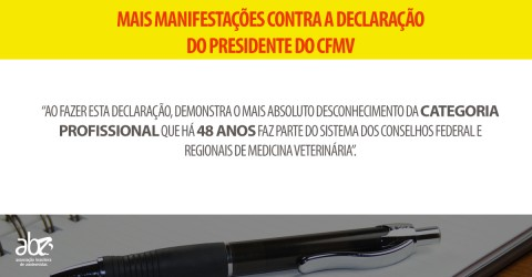 Mais associações se mobilizam contra declaração do presidente do CFMV