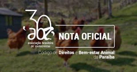 Nota pública da ABZ: Código de Direitos e Bem-estar Animal da Paraíba