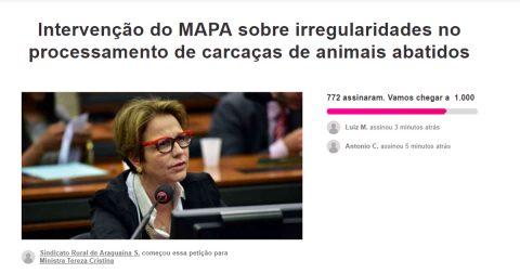 Petição pede intervenção do Mapa sobre irregularidades envolvendo indústria frigorífica